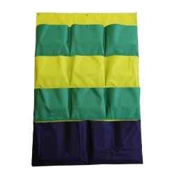 Booban Kapsář Zelenomodrý, závěsný organizér na zeď 144,5x99cm, 11 kapes